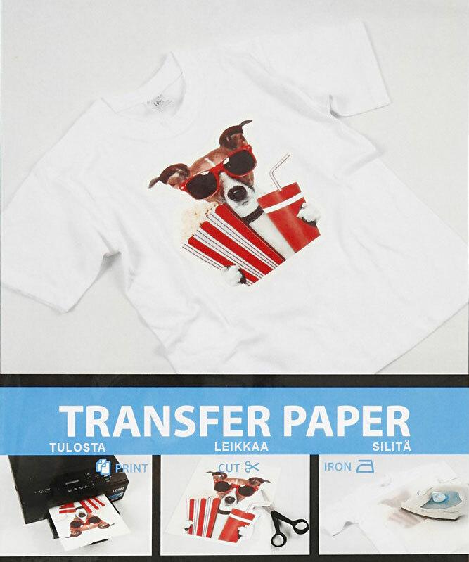 Siirtokalvo Inkjet vaaleille tekstiileille T-paidat bändipaidat jne... A4 5kpl
